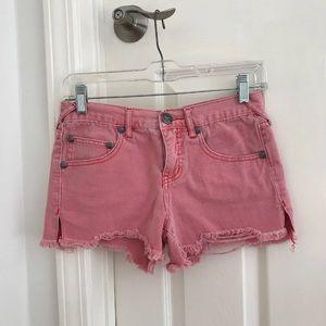 free people red sharkbite jean shorts